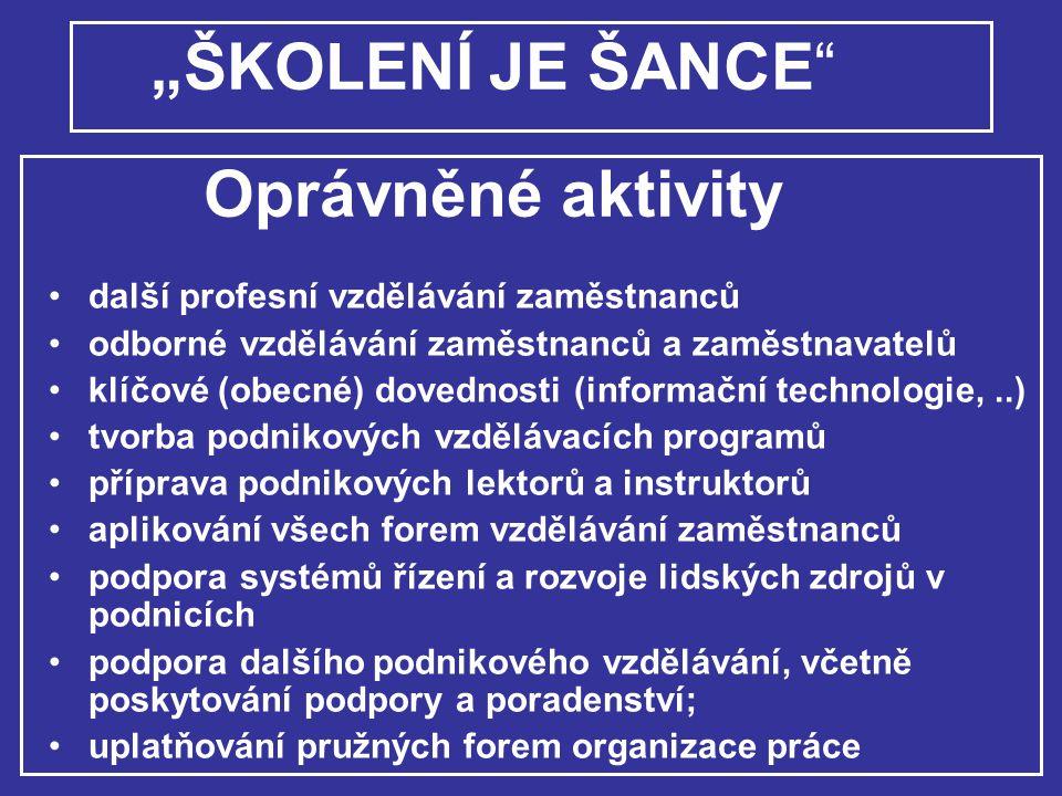 """""""ŠKOLENÍ JE ŠANCE Oprávněné aktivity"""