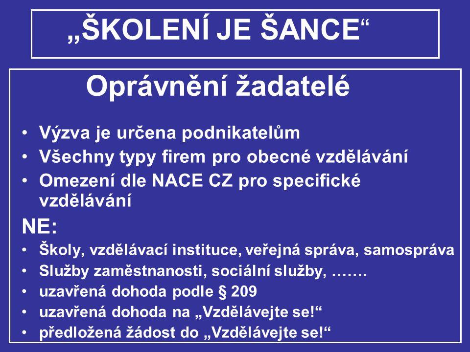 """""""ŠKOLENÍ JE ŠANCE Oprávnění žadatelé"""