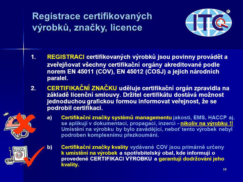   Registrace certifikovaných výrobků, značky, licence