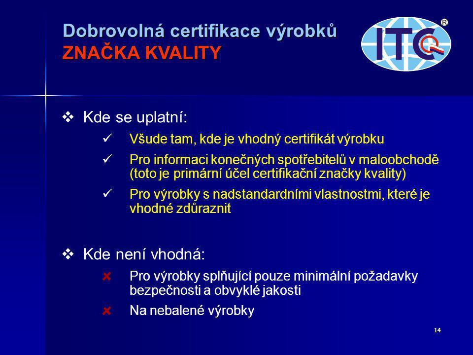 Dobrovolná certifikace výrobků ZNAČKA KVALITY