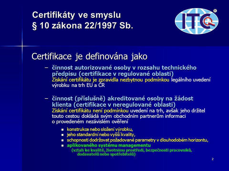Certifikace je definována jako