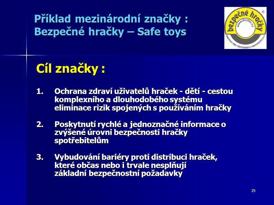 Příklad mezinárodní značky : Bezpečné hračky – Safe toys