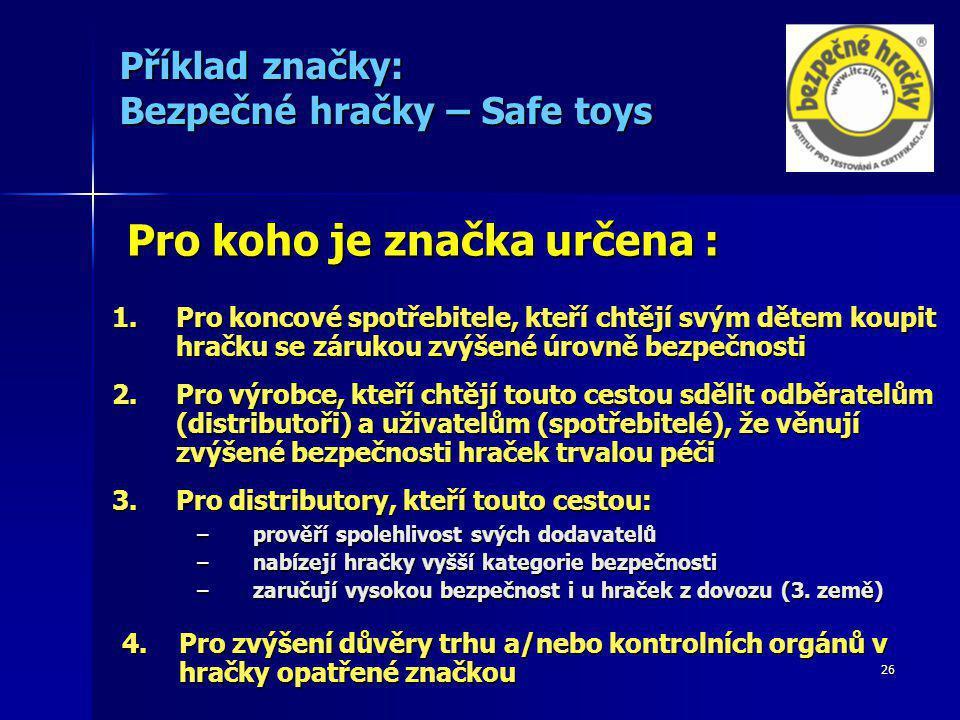 Příklad značky: Bezpečné hračky – Safe toys