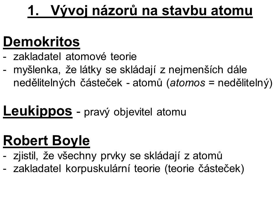 1. Vývoj názorů na stavbu atomu