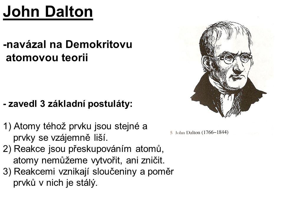 John Dalton -navázal na Demokritovu atomovou teorii