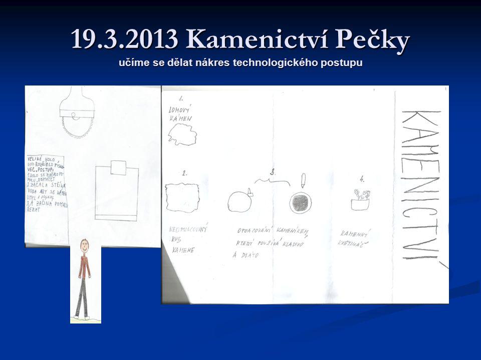 19.3.2013 Kamenictví Pečky učíme se dělat nákres technologického postupu