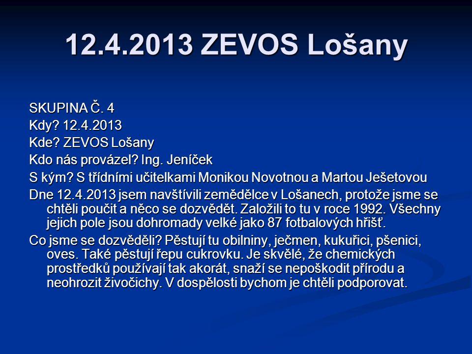 12.4.2013 ZEVOS Lošany SKUPINA Č. 4 Kdy 12.4.2013 Kde ZEVOS Lošany