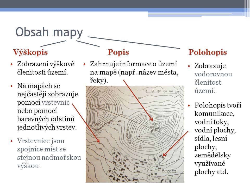 Obsah mapy Výškopis Popis Polohopis