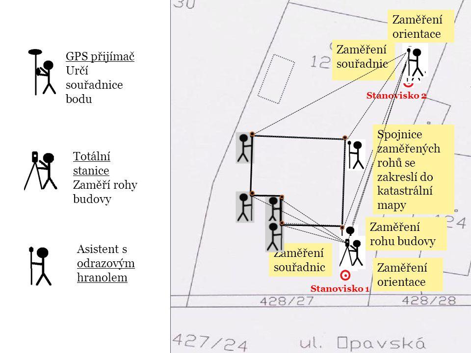 Spojnice zaměřených rohů se zakreslí do katastrální mapy