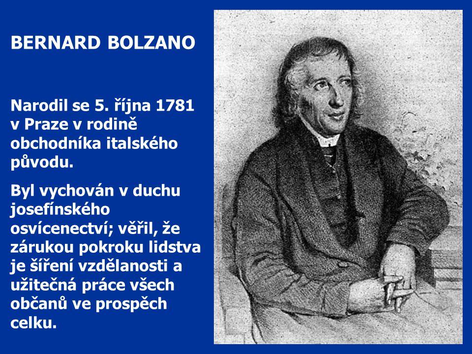 BERNARD BOLZANO Narodil se 5. října 1781 v Praze v rodině obchodníka italského původu.