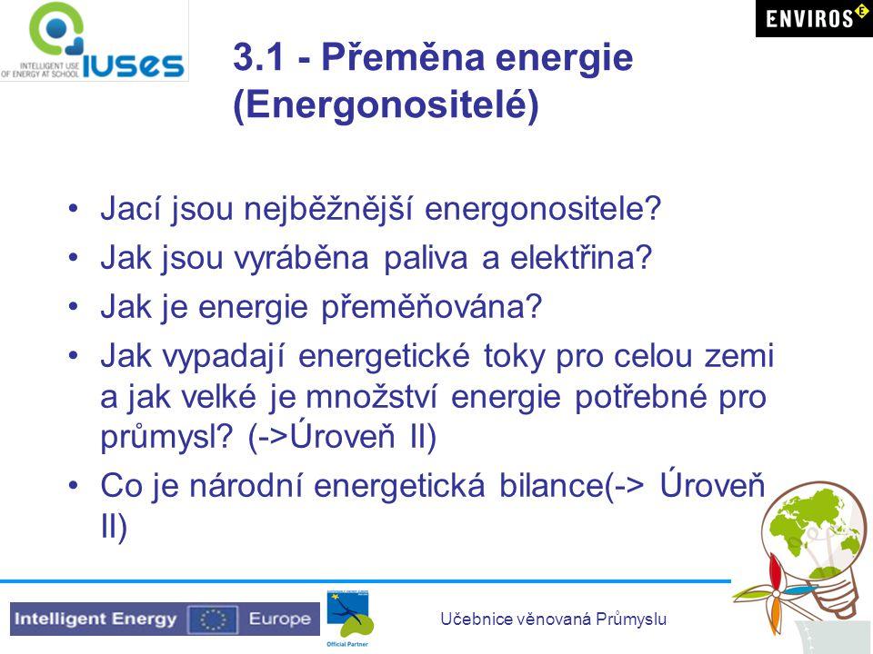 3.1 - Přeměna energie (Energonositelé)