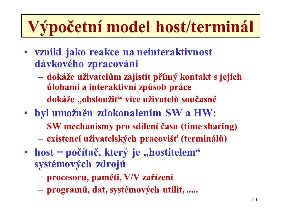 Výpočetní model host/terminál