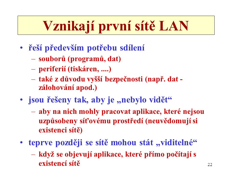 Vznikají první sítě LAN