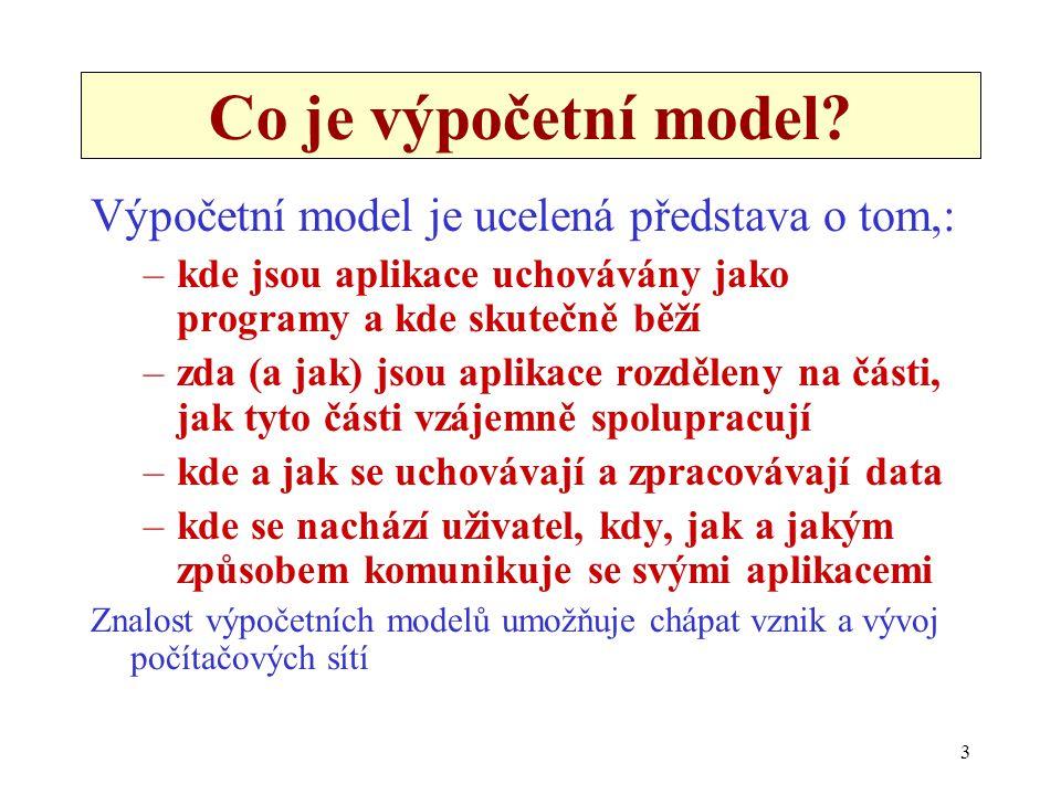 Co je výpočetní model Výpočetní model je ucelená představa o tom,:
