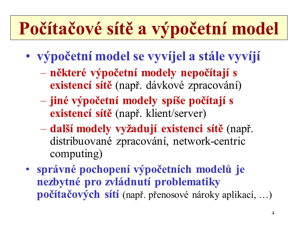 Počítačové sítě a výpočetní model