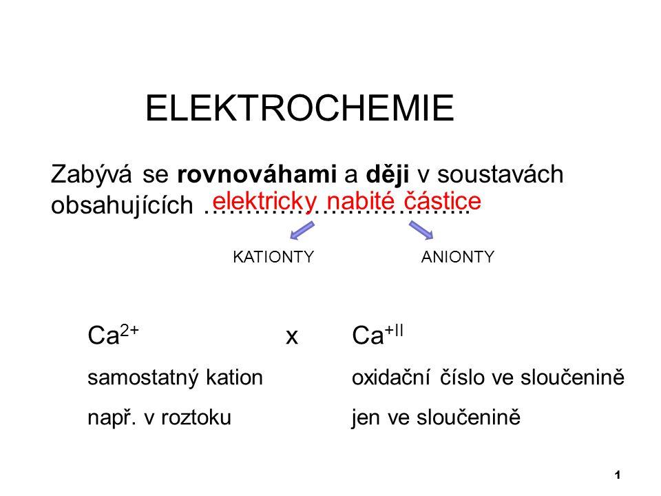 ELEKTROCHEMIE Zabývá se rovnováhami a ději v soustavách obsahujících ………………………….. elektricky nabité částice.