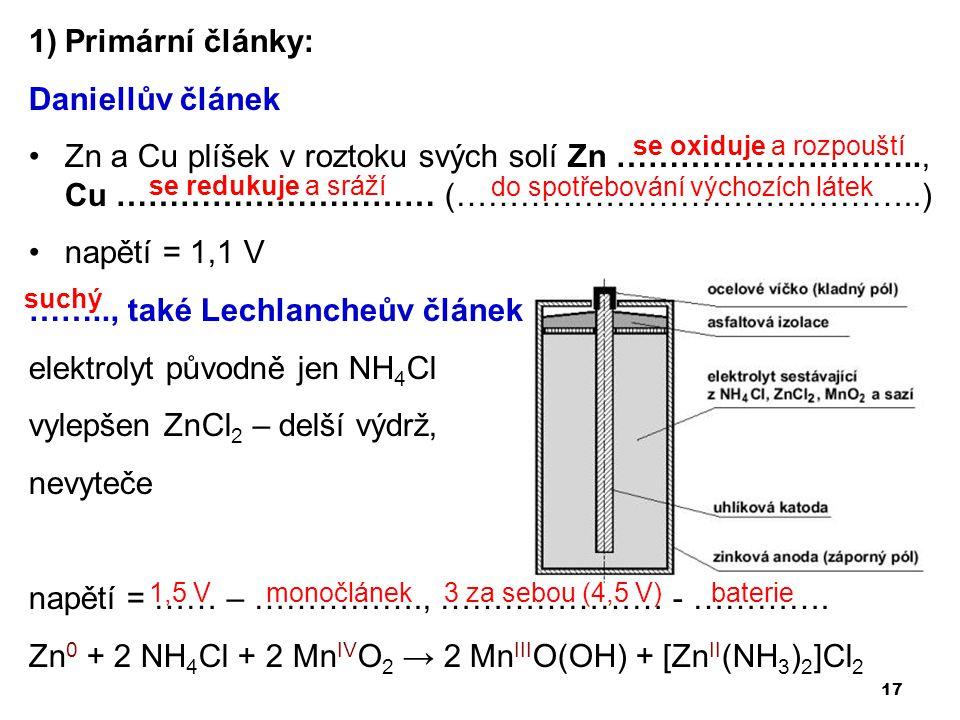 …….., také Lechlancheův článek elektrolyt původně jen NH4Cl