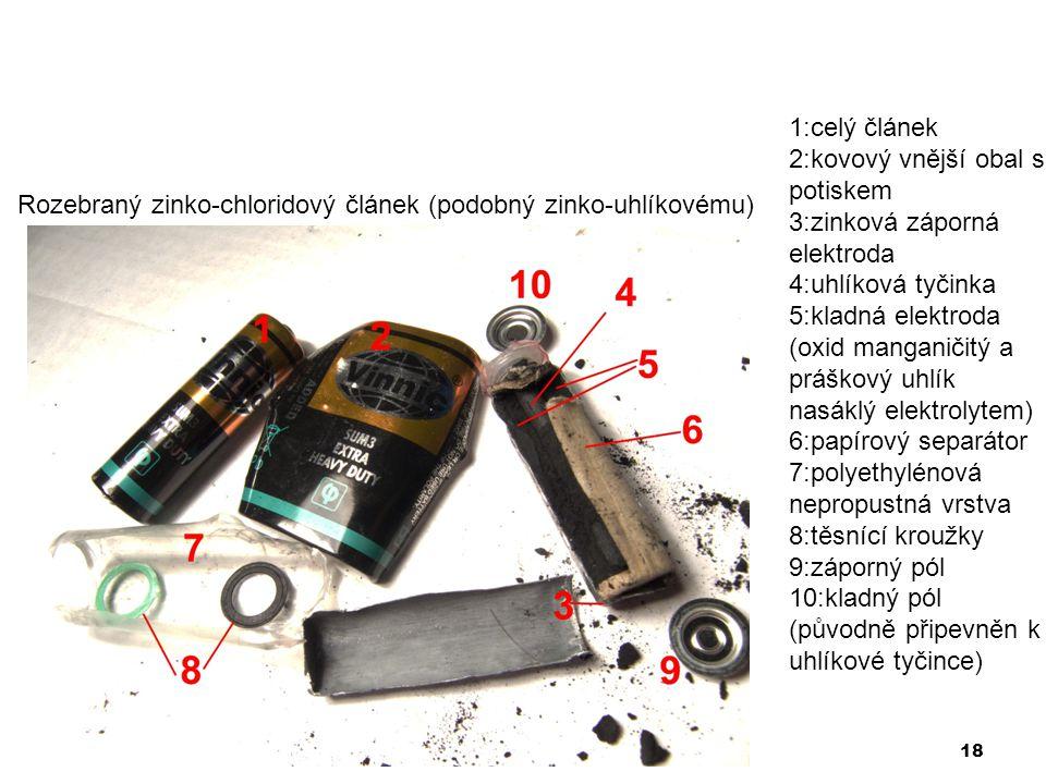 1:celý článek 2:kovový vnější obal s potiskem. 3:zinková záporná elektroda. 4:uhlíková tyčinka.