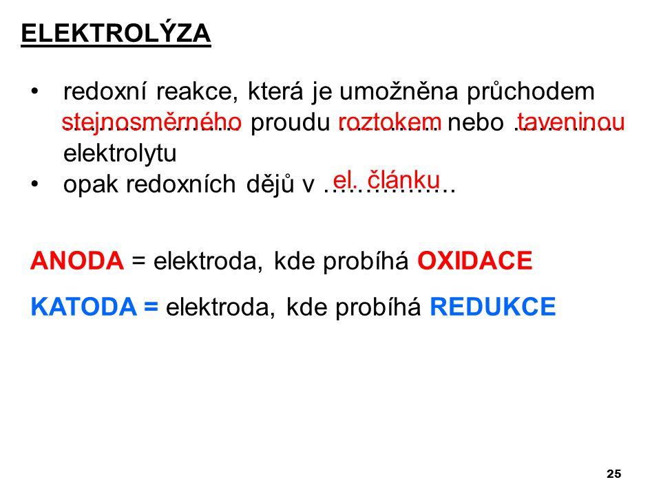 ELEKTROLÝZA redoxní reakce, která je umožněna průchodem ………………… proudu ………… nebo …………. elektrolytu.