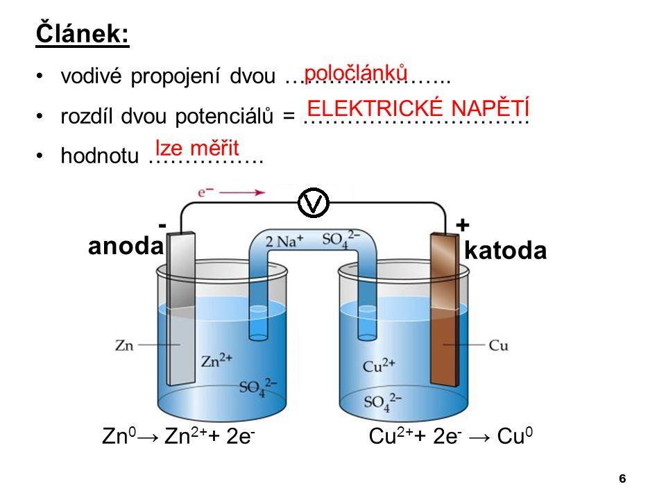 Článek: - + anoda katoda vodivé propojení dvou …………………..