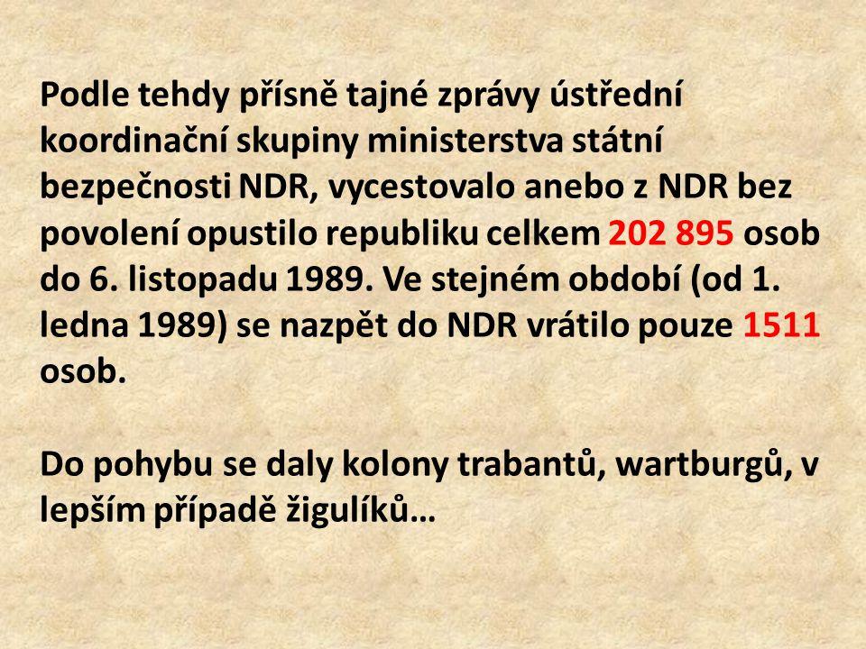 Podle tehdy přísně tajné zprávy ústřední koordinační skupiny ministerstva státní bezpečnosti NDR, vycestovalo anebo z NDR bez povolení opustilo republiku celkem 202 895 osob do 6. listopadu 1989. Ve stejném období (od 1. ledna 1989) se nazpět do NDR vrátilo pouze 1511 osob.