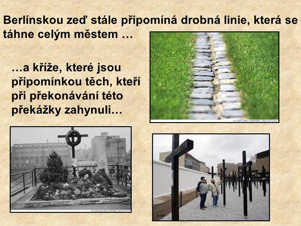 Berlínskou zeď stále připomíná drobná linie, která se táhne celým městem …