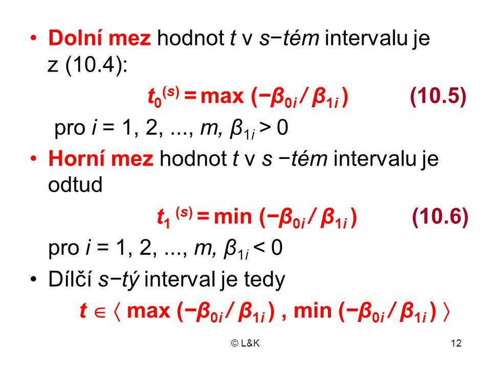 Dolní mez hodnot t v s−tém intervalu je z (10.4):