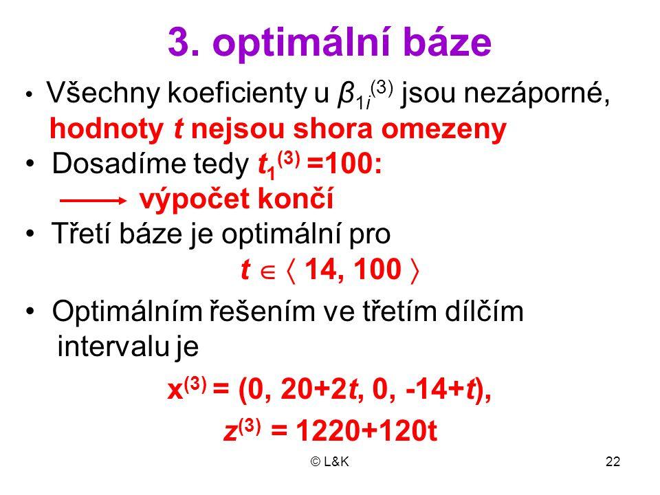3. optimální báze hodnoty t nejsou shora omezeny
