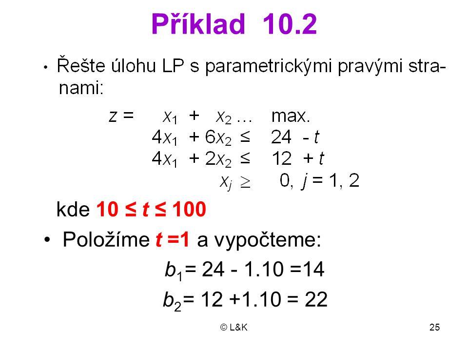 Příklad 10.2 Položíme t =1 a vypočteme: b1= 24 - 1.10 =14