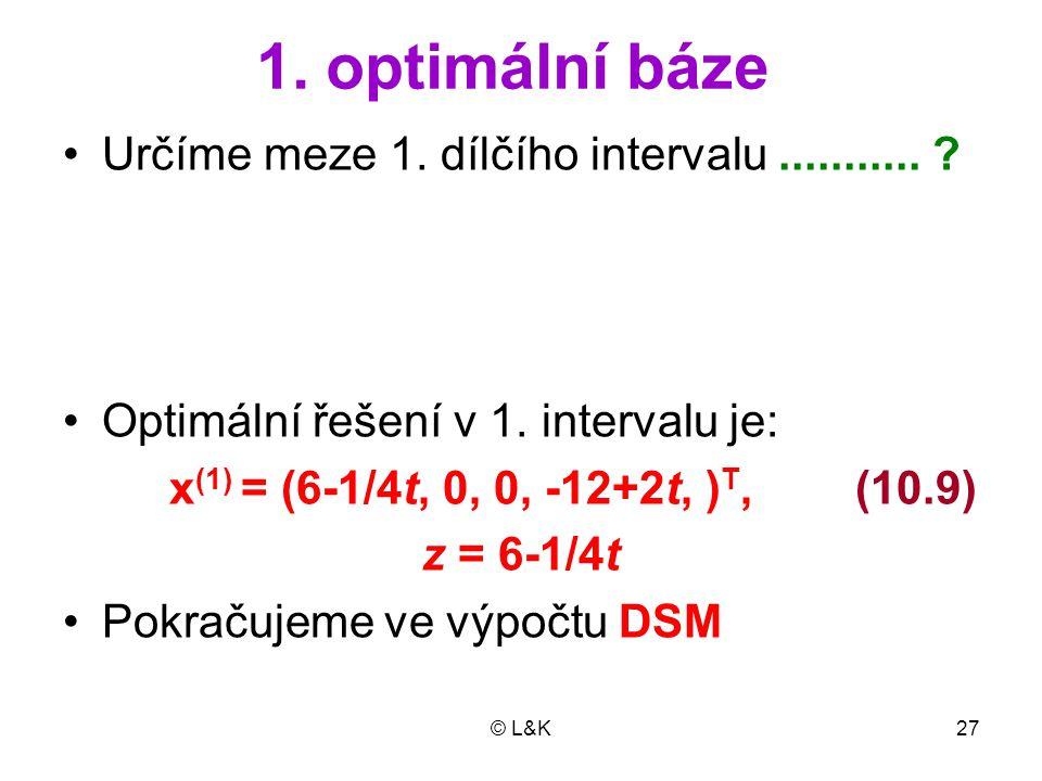 1. optimální báze Určíme meze 1. dílčího intervalu ...........