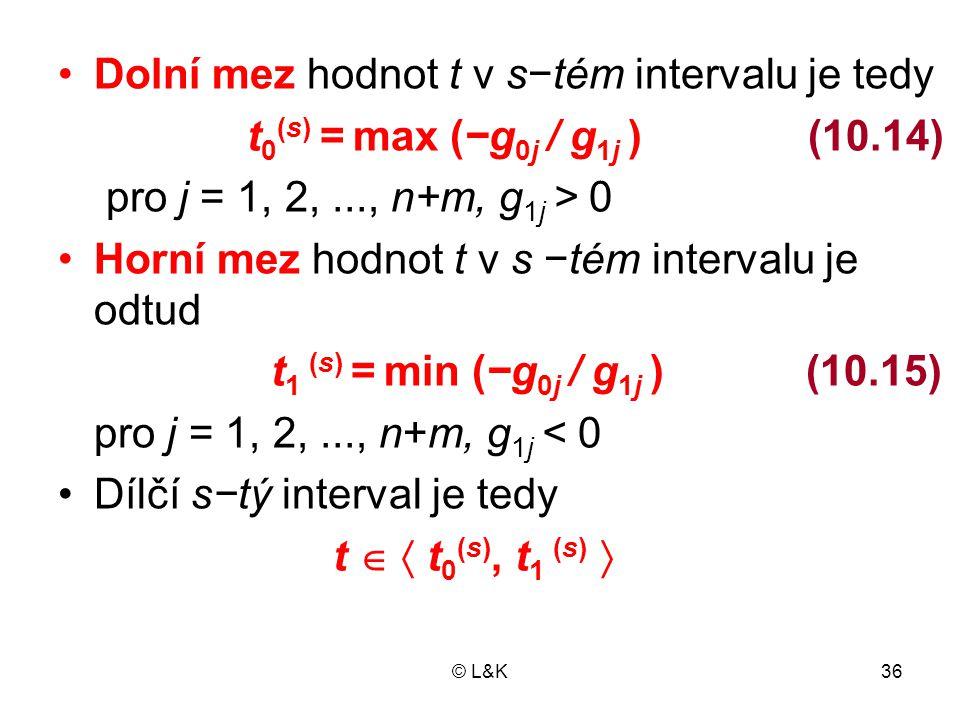 Dolní mez hodnot t v s−tém intervalu je tedy
