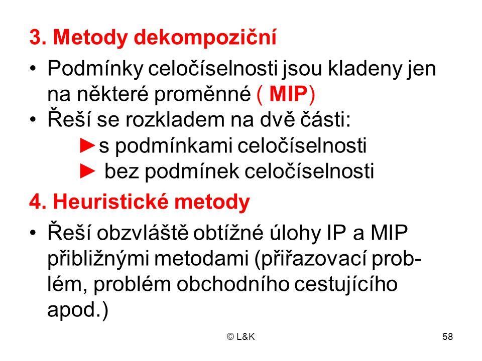 Podmínky celočíselnosti jsou kladeny jen na některé proměnné ( MIP)
