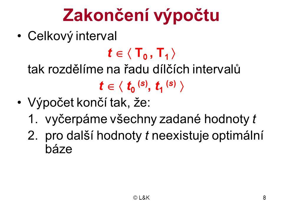 Zakončení výpočtu Celkový interval t   T0 , T1 