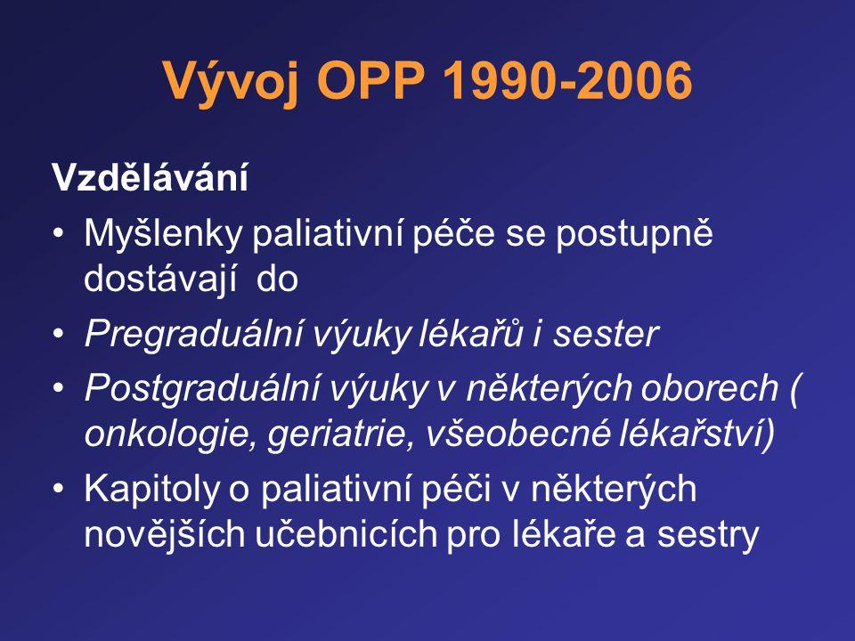 Vývoj OPP 1990-2006 Vzdělávání. Myšlenky paliativní péče se postupně dostávají do. Pregraduální výuky lékařů i sester.