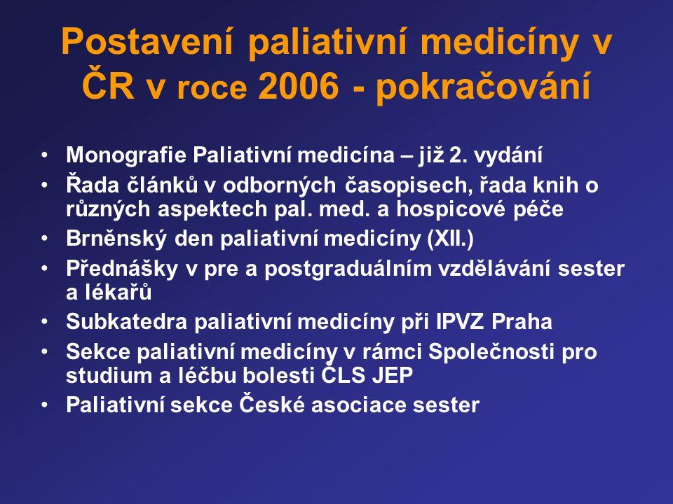 Postavení paliativní medicíny v ČR v roce 2006 - pokračování