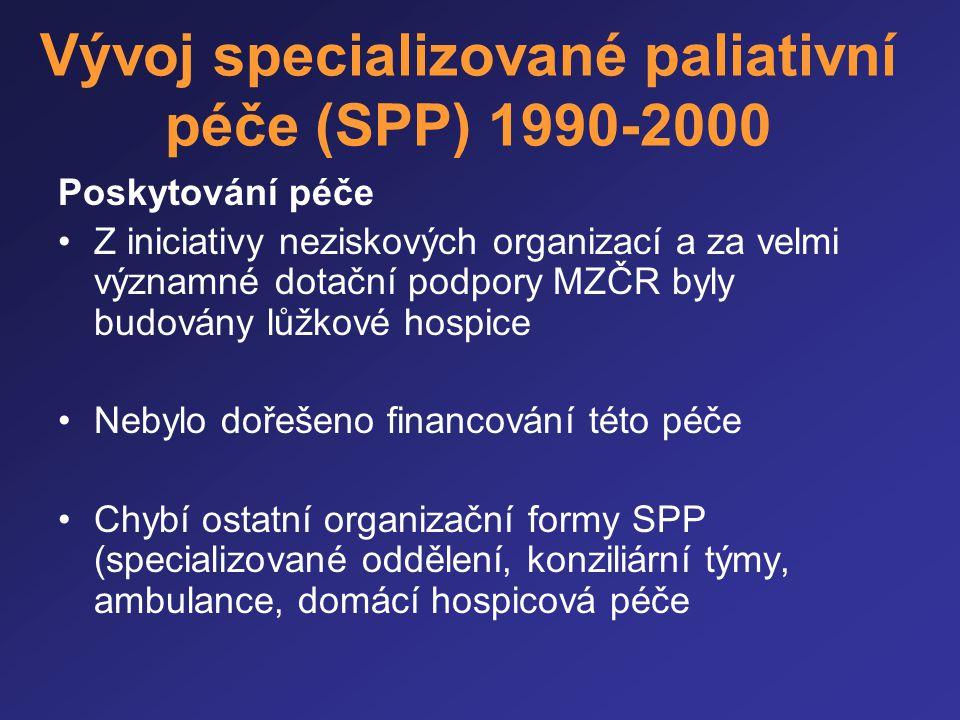 Vývoj specializované paliativní péče (SPP) 1990-2000