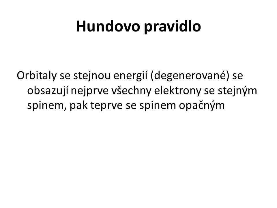 Hundovo pravidlo Orbitaly se stejnou energií (degenerované) se obsazují nejprve všechny elektrony se stejným spinem, pak teprve se spinem opačným.