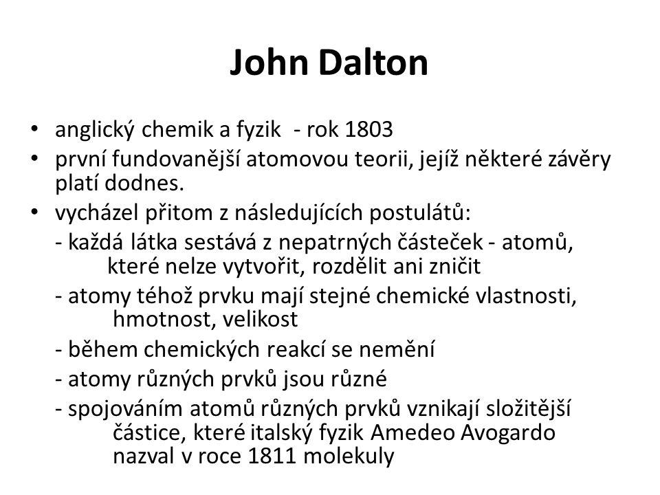 John Dalton anglický chemik a fyzik - rok 1803