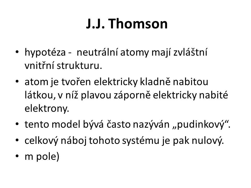 J.J. Thomson hypotéza - neutrální atomy mají zvláštní vnitřní strukturu.