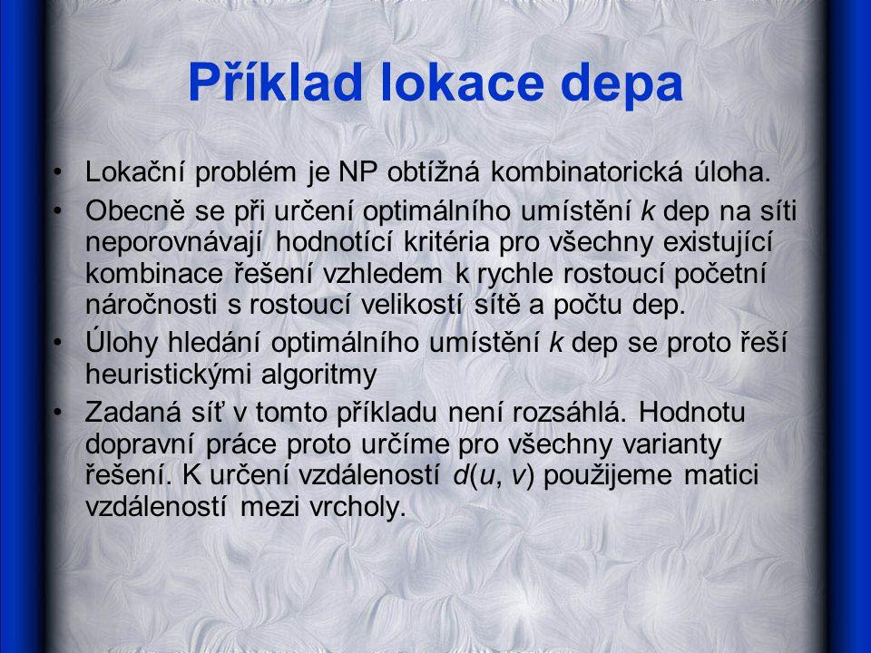 Příklad lokace depa Lokační problém je NP obtížná kombinatorická úloha.