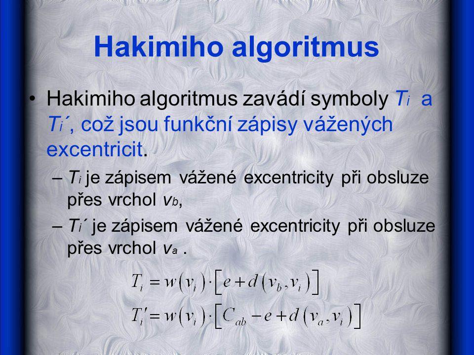 Hakimiho algoritmus Hakimiho algoritmus zavádí symboly Ti a Ti´, což jsou funkční zápisy vážených excentricit.