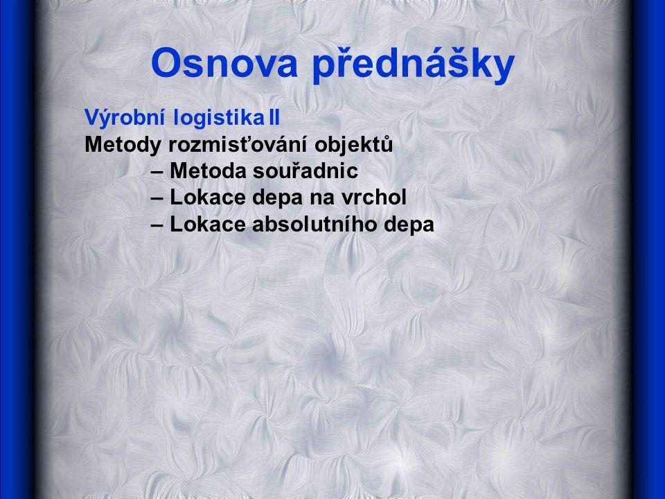Osnova přednášky Výrobní logistika II Metody rozmisťování objektů