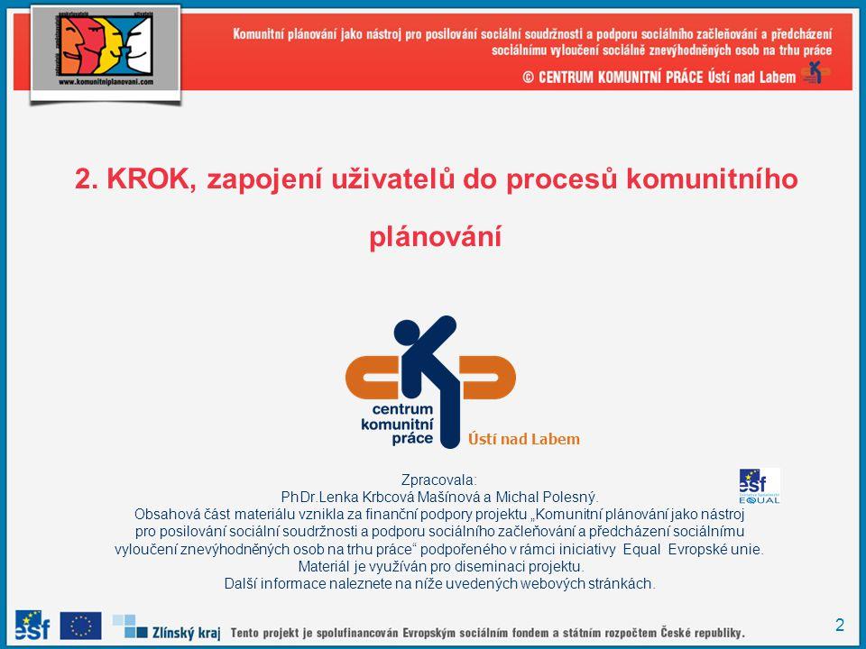 2. KROK, zapojení uživatelů do procesů komunitního plánování