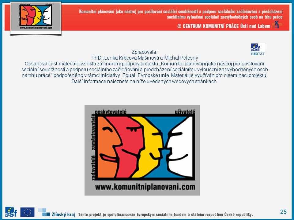 """Zpracovala: PhDr.Lenka Krbcová Mašínová a Michal Polesný Obsahová část materiálu vznikla za finanční podpory projektu """"Komunitní plánování jako nástroj pro posilování sociální soudržnosti a podporu sociálního začleňování a předcházení sociálnímu vyloučení znevýhodněných osob na trhu práce podpořeného v rámci iniciativy Equal Evropské unie."""