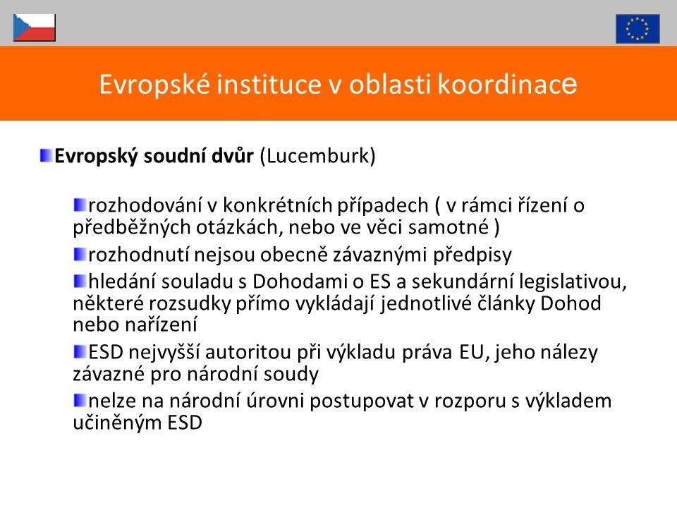 Evropské instituce v oblasti koordinace