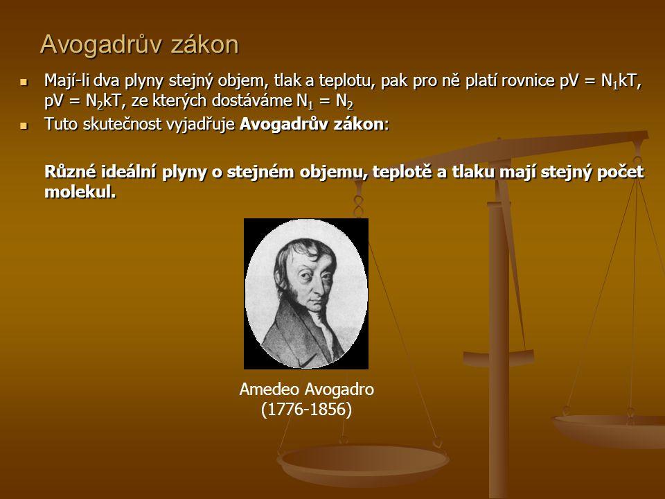 Avogadrův zákon Mají-li dva plyny stejný objem, tlak a teplotu, pak pro ně platí rovnice pV = N1kT, pV = N2kT, ze kterých dostáváme N1 = N2.