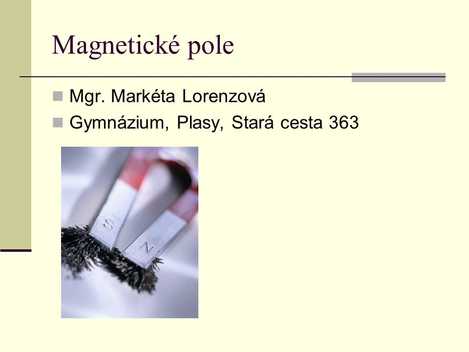 Magnetické pole Mgr. Markéta Lorenzová
