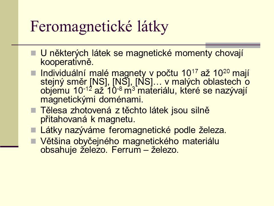 Feromagnetické látky U některých látek se magnetické momenty chovají kooperativně.