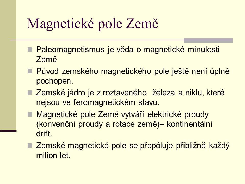 Magnetické pole Země Paleomagnetismus je věda o magnetické minulosti Země. Původ zemského magnetického pole ještě není úplně pochopen.