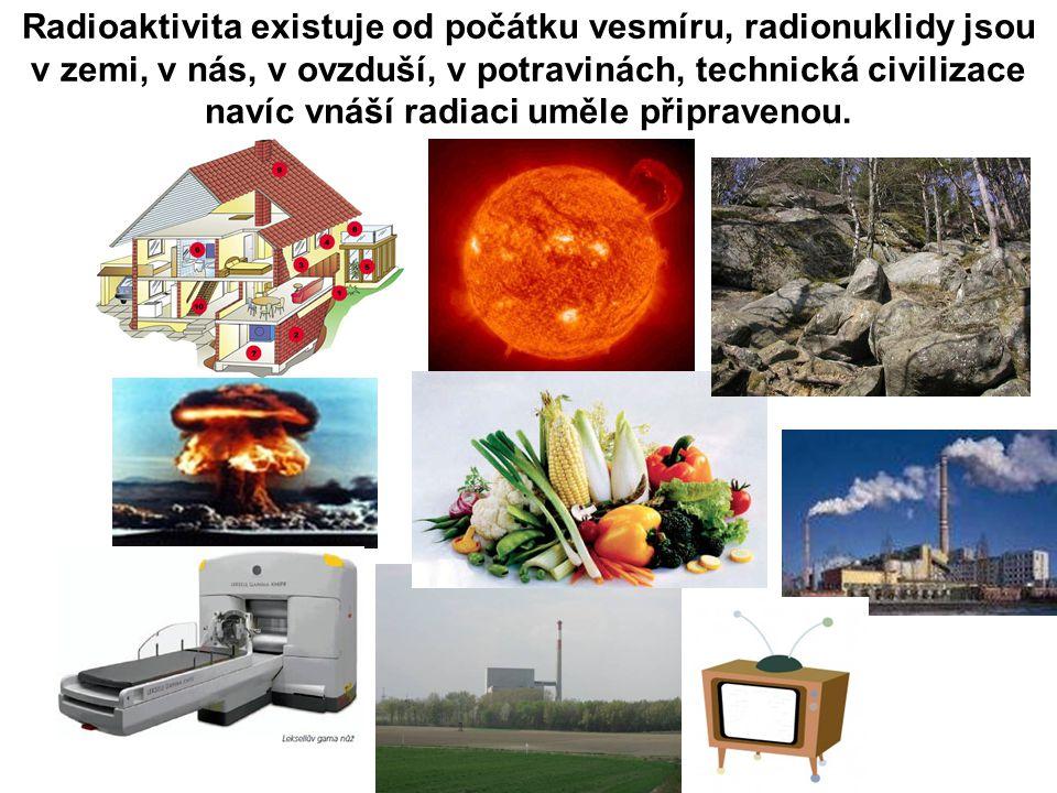 Radioaktivita existuje od počátku vesmíru, radionuklidy jsou v zemi, v nás, v ovzduší, v potravinách, technická civilizace navíc vnáší radiaci uměle připravenou.